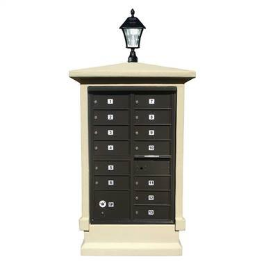Qualarc EVMC-SHRT-SS-SL Eastview Stucco CBU Mailbox Center, Short Pedestal Column Only with Bayview Solar Lamp, Sandstone Color (Bayview Solar Lamp)