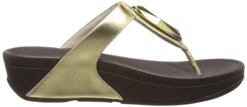 Fitflop Chada Leather - plataformas rectas de cuero mujer Amarillo - Pale Gold