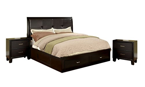 HOMES: Inside + Out 3 Piece ioHOMES Sommer Bed Set with 2 Nightstands, California King, Espresso