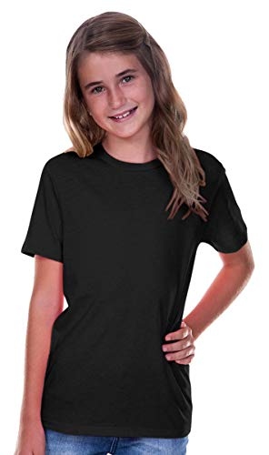 Kavio Youth Crew Neck Short Sleeve Tee Jersey (Same YJC0263), Black, Small