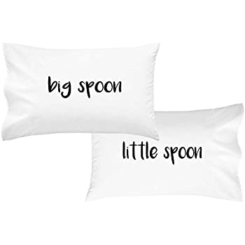 "Oh, Susannah Big Spoon Little Spoon V2 Couples Pillowcases For Wedding Anniversary Gift For Her or Him His and Hers Valentines Day Gifts (2 20x30"" Standard/Queen Pillowcases)"