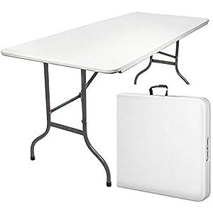 MaxxGarden Table Pliante – Table de Jardin – Table Exterieur – Table Pliable (180 x 74 cm) – Couleur Blanche