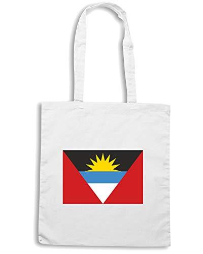 Speed Shirt Borsa Shopper Bianca TM0158 ANTIGUA AND BARBUDA FLAG