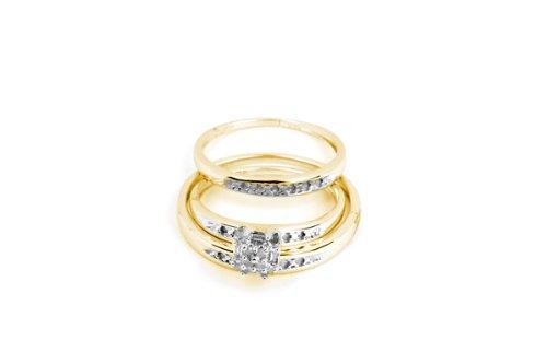 10k Yellow Gold Round Diamond Cluster Wedding Set 1/10 Cttw
