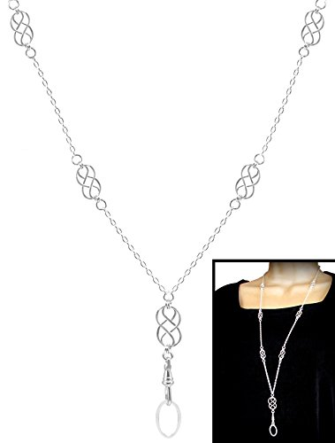 (Brenda Elaine Jewelry | Real Silver Plate | Women's Fashion Lanyard Necklace for ID Badge Holders | 32 Inch Silver Chain with Multiple Silver Celtic Knots & Rear Lobster Clasp)