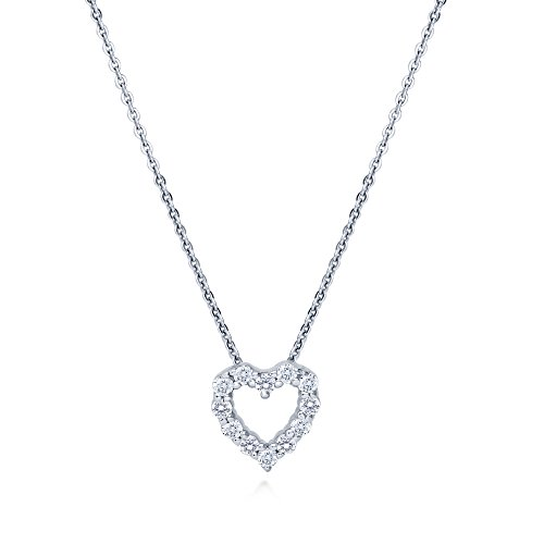 BERRICLE Rhodium Plated Sterling Silver Cubic Zirconia CZ Open Heart Anniversary Wedding Pendant Necklace