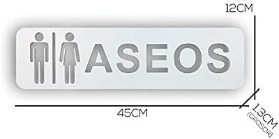 Señales para Baño, Servicio y WC, Letras y Placas para Pared y Puerta del WC de Hombre y Mujer, Material PVC, Color Blanco Original (Placa de ASEOS)