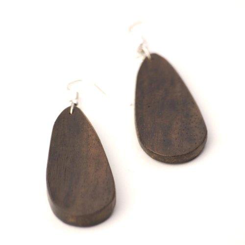 81stgeneration Women's Wood .925 Sterling Silver Oval Teardrop Brown Dangle Earrings