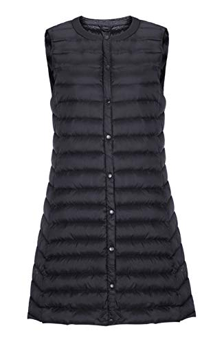chouyatou Women's Light Button Up Quilted Mid-Long Down Vest Waistcoat (Large, Black) ()