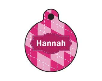 QM - The Hannah - Dog or Cat Name Tag - 1in Wide 2 Sided Aluminum Full Color ID tag