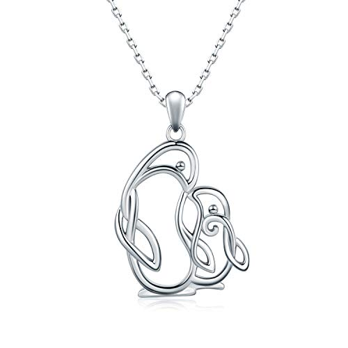 925 Sterling Sliver Jewelry Celtic Penguin Necklace,Cute Animal Pendant for Expectant Young Mother Women