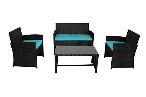 Outdoor Rattan Wicker Sofa Set Garden Patio Furniture Cushioned Sectional Conversation Sets-Easy Assembled(Turquoise cushion,4 Piece) by Outime