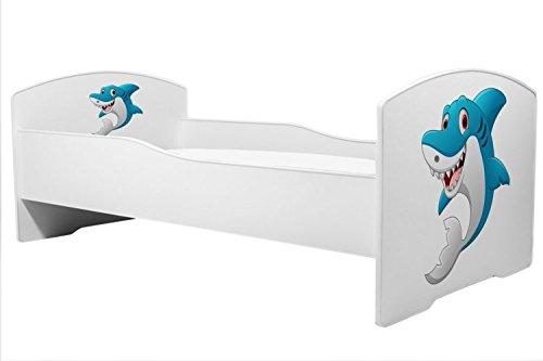 Lettino per bambini letto squalo dimensione 160x80 cm con materasso KOBI