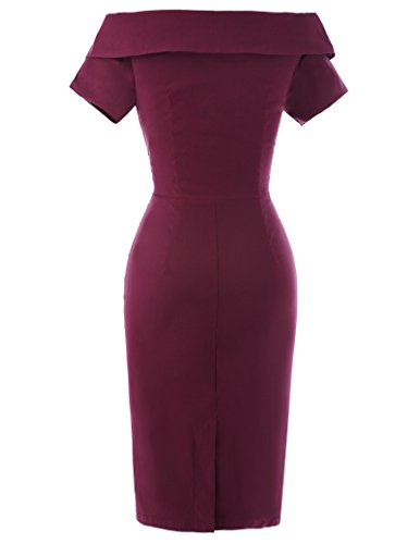 Women Cocktail Dress Off Shoulder Cocktail Dress Size USA8 Wine BP158-2 from Belle Poque