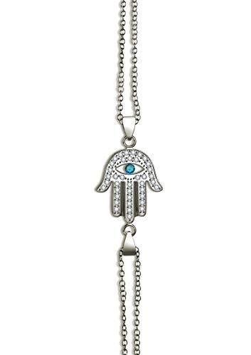 Silver Evil Eye Bracelet with Protective Hamsa Hand Jewelry - Blue Cubic Zirconia, -