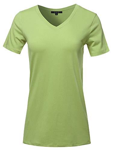 Basic Solid Premium Cotton Short Sleeve V-Neck T Shirt Tee Tops Sage 2XL