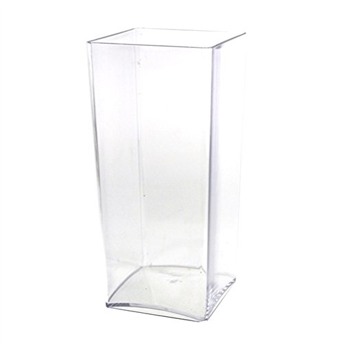 Homeford FBB0VASQ4410 Clear Acrylic Block Vase Display, 10''