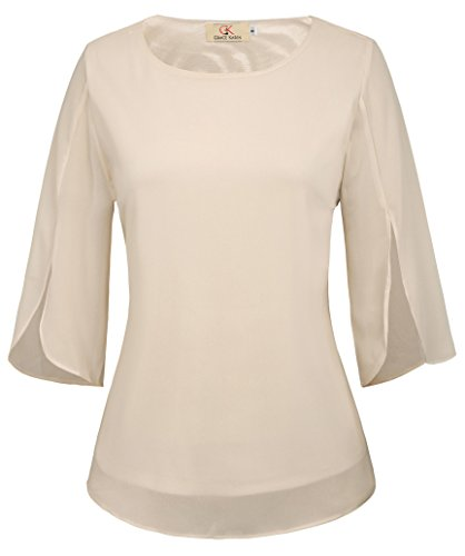Cream Blouse Top (Women's 3/4 Petal Sleeve Chiffon Blouse Casual T-Shirt Tops Size M Cream)