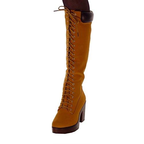 Lacets Botte matelass Mode Cavalier Chaussure Femme Rangers Motard Angkorly B0PRxP