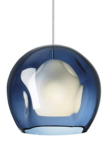 Tech Lighting 700FJJASUS Mini Jasper - One Light Freejack Pendant, Satin Nickel Finish with Blue Glass