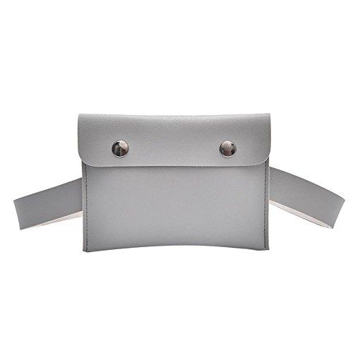 Domybest Women Casual Crossbody Waist Packs Leather Fanny Bum Belt Shoulder Handbags Grey