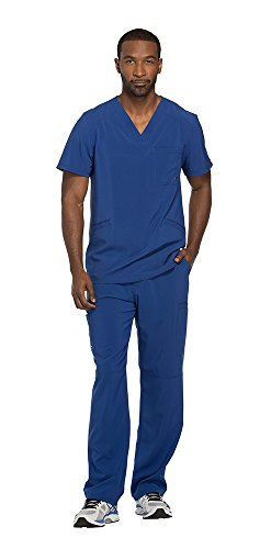 Cherokee Infinity Men's V-Neck Top with Certainty CK900A & Drawstring Cargo Pant CK200A Scrub Set (Antimicrobial) (Galaxy Blue - Large/Large)