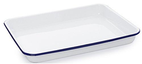 Enamelware Rectangular Tray, 11.25 x 9 inches, Vintage White/Blue