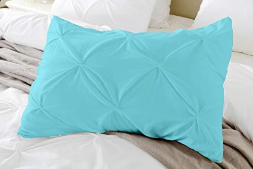 Pinch Plated / Pintuck Pillow Shams Set of 2pcs - Luxury 600-TC 100% Egyptian Cotton Cushion Cover Euro Size Decorative Pillow Cover European Pillow Sham (Standard 20''x 26'', Aqua/Water Blue)
