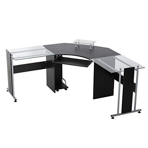 HomCom 69' Modern L-Shaped Symmetrical Smoked Glasstop Office Computer Desk