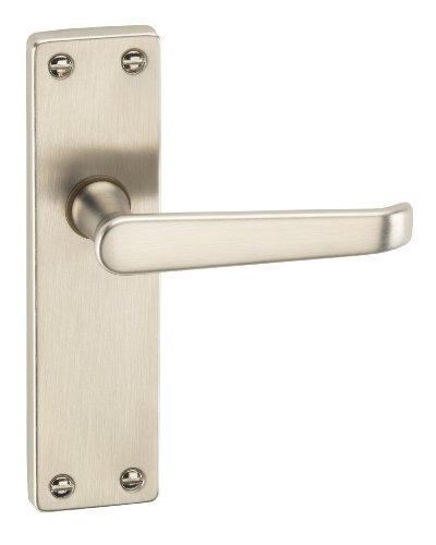 URFIC 90-325-05 LA Victorian Satin Nickel Lever Latch Traditional Door Handle Set -