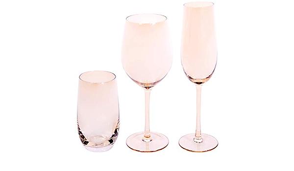 EME Mobiliario Juego de Copas de Cristal en Color Ambar Naranja Compuesto por 6 Copas de Cava, 6 Copas de Vino y 6 Vasos. Una Caja Contiene 18 Unidades.: Amazon.es: Hogar