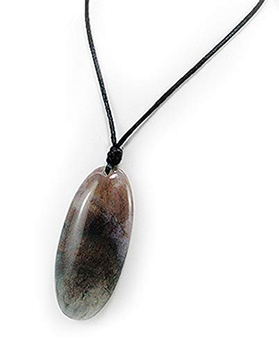 "Genuine Moss Agate Oblong Gemstone Pendant with 36"" Adjustable Silk Cord Necklace -Varying Colors/Pattern"