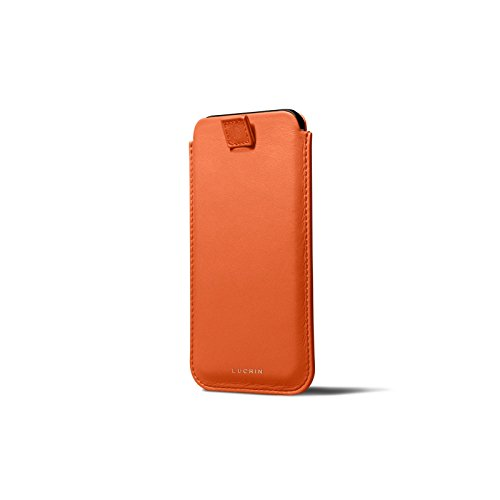 ❥ Lucrin - Leather Case with Pull Tab Compatible with iPhone XR and Wireless Charging - Orange - Genuine Leather orange iphone xr case 4