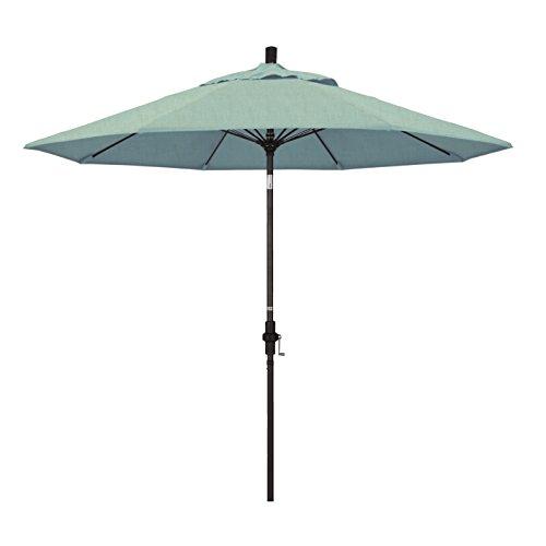 California Umbrella 9' Round Aluminum Pole Fiberglass Rib Market Umbrella, Crank Lift, Collar Tilt, Bronze Pole, Sunbrella Spa