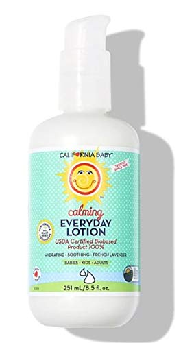 California Baby Calming Everyday Lotion (8.5 Ounces)   100% Plant-based (excludes water)   Moisturizer for Dry, Sensitive Skin   Post Bath and Diaper Changing