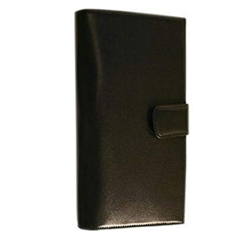 Floto Women Custom Initials Personalizations Leather Document Folder wallet in Black