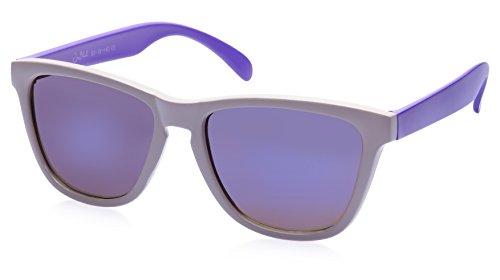 Joe Black Wayfarer Sunglasses (White and Purple) (JB-6280 C18)