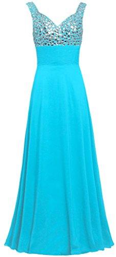 Réservoir De Sangles De Fourmis Femmes Longues Robes De Soirée Perles Robe De Bal De Turquoise