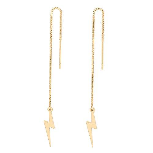 MANZHEN Simple Jewelry Lightning Bolt Dangle Drop Earrings Women Threader Earring 3 Colors (gold) -