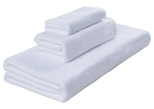 SINLAND Antibactrial Microfiber Towel Sets 3 Pieces 1 Bath Towel (32 Inch x 59 Inch), 1 Hand Towel (16 Inch x 32 Inch) and 1 Washcloth(12 Inch x 12 Inch) Fast Drying & Absorbent