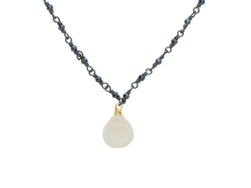 Fronay Co .925 Sterling Silver Mini Lightbulb Stone Necklace dipped in Gunmetal Black