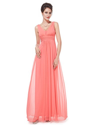 Ever-Pretty Maxi Ruffles Sexy Club Dresses for Women 10US Coral (Coral Maxi Dresses For Women)