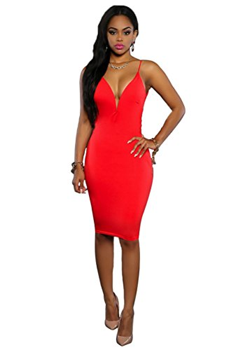 Red Strap Bodycon Sexy Women Midi Neck Dress Clubwear V Spaghetti Backless Sleeveless nwPYfFYq4