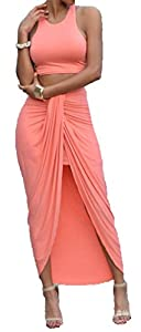 Allonly Women's Sexy 2 Pieces Tank Tops Bodycon Maxi Skirt Party Clubwear Set