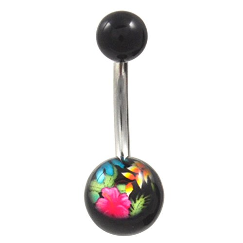 Hawaiian Luau Flowers Logo Black Acrylic Balls Belly Navel Ring (Non-Dangle) - Belly Rings Logo