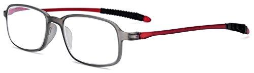 FONEX TR90 Stylish Reading Glasses Frame Old Men Eyeglasses Women Hyperopia Ultralight Gift for father +1.50 +2.00 +2.50 +3.00 LH235 (Gray Red, - Ultralight America