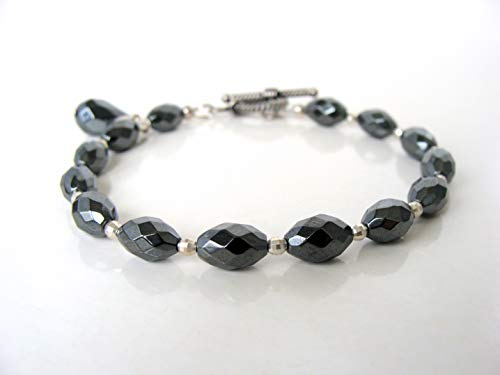Polished Toggle - Genuine hematite sterling silver toggle bracelet, polished style, wear stacked or solo, handmade by Let Loose Jewelry, 7.5 inches