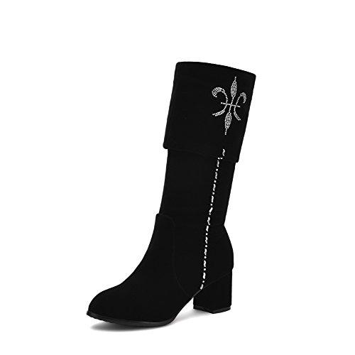 VogueZone009 Damen Hoch Spitze Ziehen auf Mattglasbirne Mittler Absatz Rund Zehe Stiefel, Rot, 37