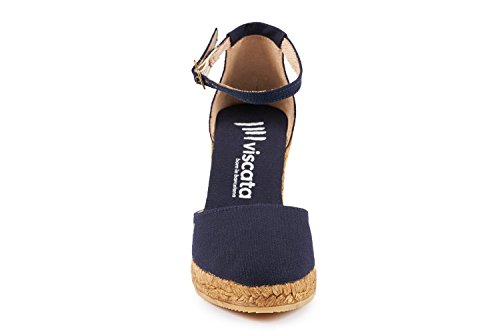 VISCATA Estartit Elegant Comfort, Canvas, Ankle-Strap, Closed Toe, Espadrilles with 3-inch Heel Made in Spain Navy