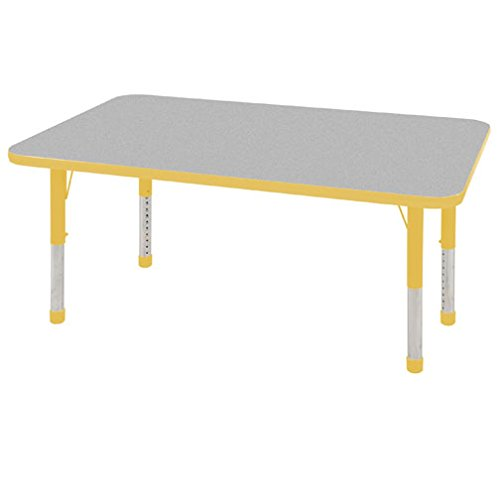 ECR4Kids T-Mold 30'' x 48'' Rectangular Activity School Table, Chunky Legs, Adjustable Height 15-24 inch (Grey/Yellow) by ECR4Kids